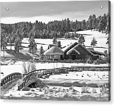 Evergreen Lake House Winter Acrylic Print by Ron White