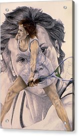 Evonne Goolagong Cawley Acrylic Print by Phil Welsher