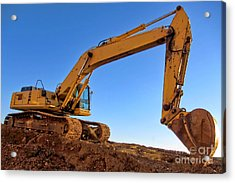 Excavator Acrylic Print by Olivier Le Queinec