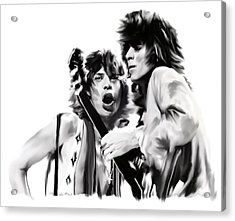Exile II Mick Jagger And Keith Richards Acrylic Print by Iconic Images Art Gallery David Pucciarelli