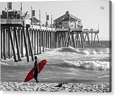 Existential Surfing At Huntington Beach Selective Color Acrylic Print by Scott Campbell