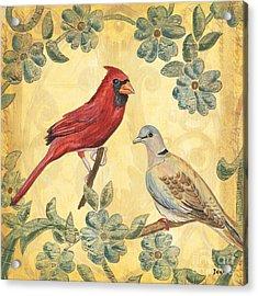 Exotic Bird Floral And Vine 2 Acrylic Print by Debbie DeWitt