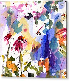 Expressive Watercolor Flowers And Bees Acrylic Print by Ginette Callaway