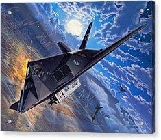 F-117 Nighthawk - Team Stealth Acrylic Print by Stu Shepherd