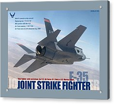F 35 Joint Strike Fighter Large Border Acrylic Print by L Brown