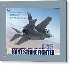 F 35 Joint Strike Fighter Larger Border Acrylic Print by L Brown