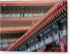 Facade Painting Inside The Forbidden City In Beijing Acrylic Print by Julia Hiebaum