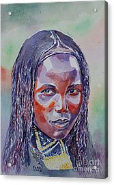 Face From Sudan  1 Acrylic Print by Mohamed Fadul