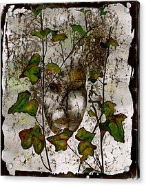 Face In The Garden Acrylic Print by Carolyn Doe