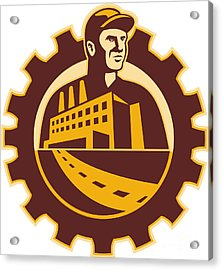 Factory Worker Mechanic With Cog Building Acrylic Print by Aloysius Patrimonio