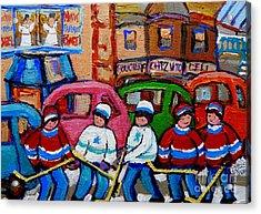 Fairmount Bagel Street Hockey Game Acrylic Print by Carole Spandau