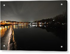 Fairmount Dam And Boathouse Row In The Evening Acrylic Print by Bill Cannon