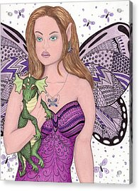 Fairy And Her New Friend -- The Baby Dragon Acrylic Print by Sherry Goeben