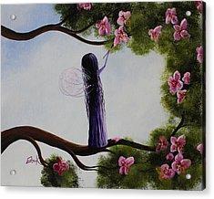 Fairy Blossoms Original Whimsical Art Acrylic Print by Shawna Erback