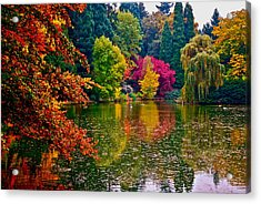 Fall By The Water Acrylic Print by Rae Berge