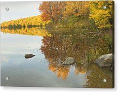 Fall Colors On Taylor Pond Mount Vernon Maine Acrylic Print by Keith Webber Jr