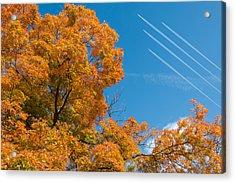 Fall Foliage With Jet Planes Acrylic Print by Tom Mc Nemar