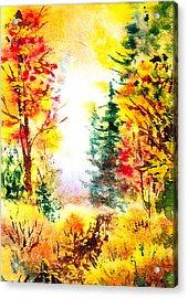 Fall Forest Acrylic Print by Irina Sztukowski