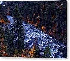 Fall Lined River Acrylic Print by Raymond Salani III