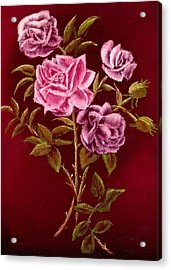 Fall Roses Acrylic Print by Ron Chambers