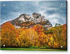 Fall Storm Seneca Rocks Acrylic Print by Mary Almond