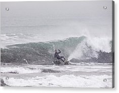 Falling Surfer In Falling Snow Acrylic Print by Tim Grams