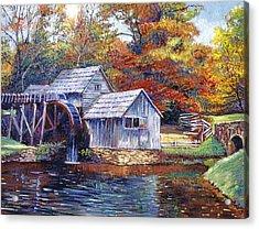 Falling Water Mill House Acrylic Print by David Lloyd Glover