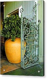 Fancy Gate And Plain Pot Acrylic Print by Ben and Raisa Gertsberg