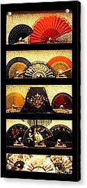 Fans In A Shop Window Acrylic Print by Mary Machare