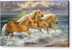 Fantasea Ponies Acrylic Print by Laurie Hein