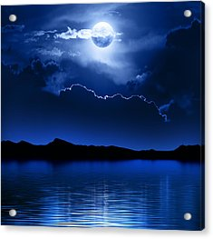 Fantasy Moon And Clouds Over Water Acrylic Print by Johan Swanepoel
