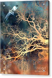 Fantasy Surreal Trees And Seagull Flying Acrylic Print by Kathy Fornal