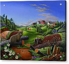 Farm Folk Art - Groundhog Spring Appalachia Landscape - Rural Country Americana - Woodchuck Acrylic Print by Walt Curlee
