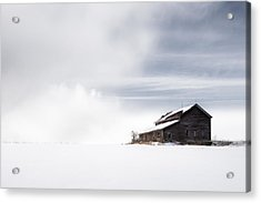 Farmhouse - A Snowy Winter Landscape Acrylic Print by Gary Heller