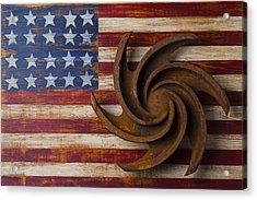 Farming Tool On American Flag Acrylic Print by Garry Gay