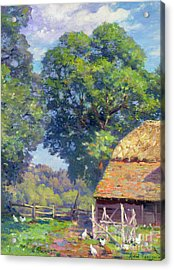 Farmyard With Poultry Acrylic Print by Gabriel Edouard Thurner