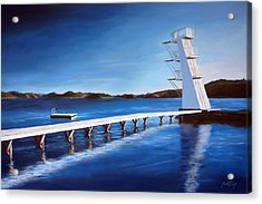 Farsund Badehuset On A Sunny Day Acrylic Print by Janet King