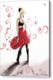 Fashion Illustration Art Print Woman In Red Ruffled Skirt Acrylic Print by Beverly Brown Prints