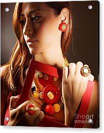Fashionable Girl Portrait Acrylic Print by Anna Omelchenko