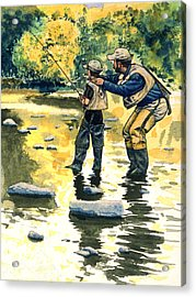 Father And Son Acrylic Print by John D Benson