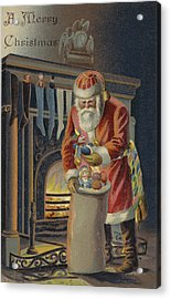 Father Christmas Filling Children's Stockings Acrylic Print by English School