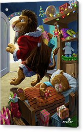 Father Christmas Lion Delivering Presents Acrylic Print by Martin Davey