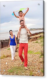 Father On Beach With Daughter Acrylic Print by Ian Hooton