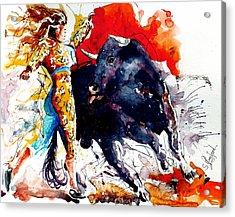 Female Bullfighter Acrylic Print by Steven Ponsford