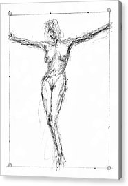 Female Nude In The Pose As Jesus Christ Crucifix  - Pencil Drawing Acrylic Print by Nenad Cerovic