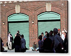 Fenway Park - Fans And Locked Gate Acrylic Print by Frank Romeo