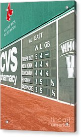 Fenway Park Green Monster Scoreboard I Acrylic Print by Clarence Holmes