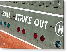 Fenway Park Green Monster Scoreboard IIi Acrylic Print by Clarence Holmes