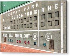 Fenway Park Scoreboard Acrylic Print by Susan Candelario
