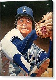 Fernando Vanezuela - Los Angles Dodgers Acrylic Print by Michael  Pattison